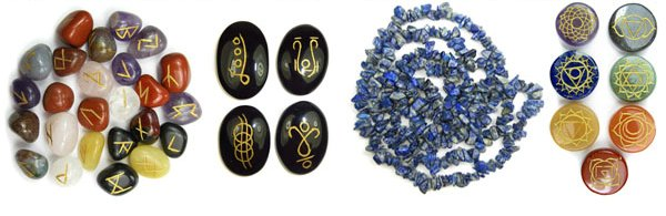 Runes, Head Massagers, Chip Bead Necklaces and Chakra Stone Sets