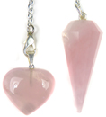 Rose Quartz & Heart Pendant Pendulum