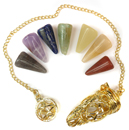 Gold Cage Pendulum with Chakra Stones