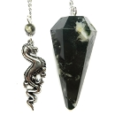 Bloodstone Pendulum with Dragon Charm Top