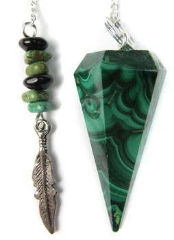 Malachite Pendulum with Feather Top