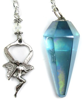 Aqua Aura Quartz Pendulum with Fairy Top