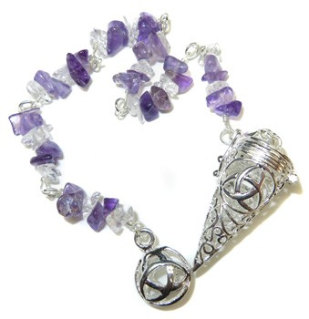Gemstone Chip with Celtic Cage Pendulum (Amethyst)