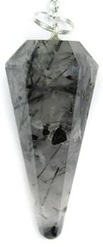 Black Tourmalinated Quartz Pendulum (Faceted)