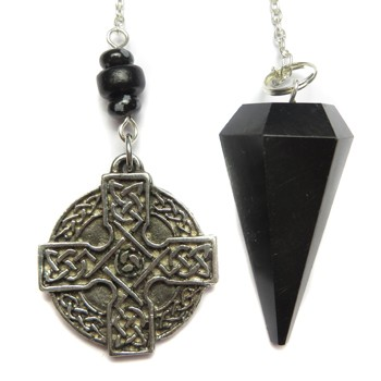 Black Agate & Celtic Cross Pendulum