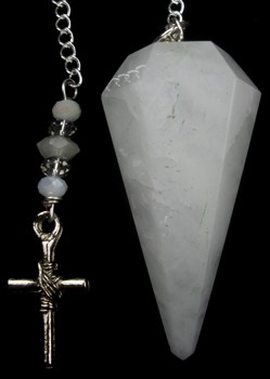 White Agate Cross Pendulum
