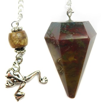 Fancy Jasper Pendulum with Pewter Frog
