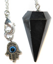 Black Agate Pendulum with Evil Eye Charm