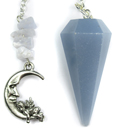 Angelite Pendulum with Moon & Cherub Top