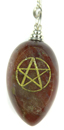 Agate Etched Pentacle Pendulum