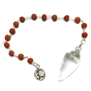 Clear Quartz Pendulum with Rudraksha Beads and Om Charm