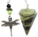 Serpentine Faceted Pendulum with Dragonfly Charm
