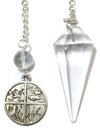 Clear Quartz Pendulum with Four Elements Charm