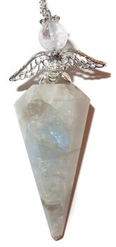 Rainbow Moonstone Pendulum with Angel Accent
