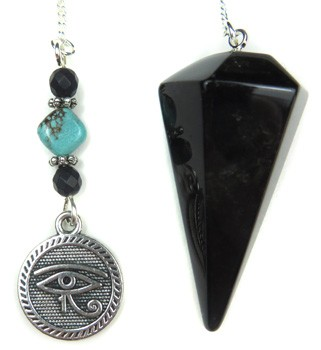 Black Agate Pendulum with Eye of Horus Charm