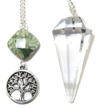 Clear Quartz Pendulum with Tree of Life Charm