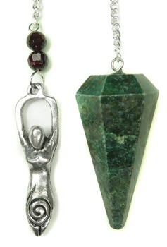Ruby Zoisite Pendulum with Goddess Charm